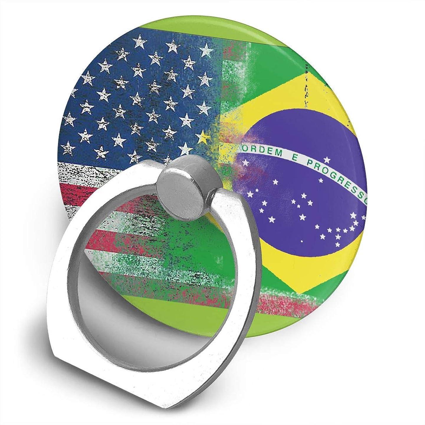 約排泄する先駆者ブラジルの旗 360度回転 携帯リング スタンド スマホスタンド ホルダー 薄型 指輪 リング 携帯アクセサリースタンド機能 落下防止