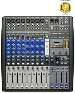 PreSonus StudioLive AR12 USB 14-Channel Hybrid Performance and Recording Mixer with Microfiber and Free EverythingMusic 1 Year Extended Warranty