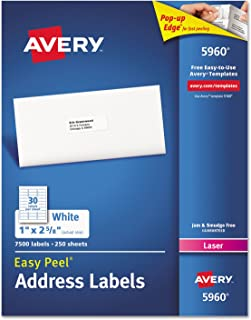 Avery 5960 Laser Labels, Mailing, 1-Inch x2-5/8-Inch, 7500/BX, White