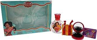 مجموعة هدايا من 4 قطع من ديزني إلينا أوف أفالور للأطفال، بخاخ عطر تواليت 100 مل ومرآة وفرشاة، إكسسوارات للشعر، أربطة للشعر