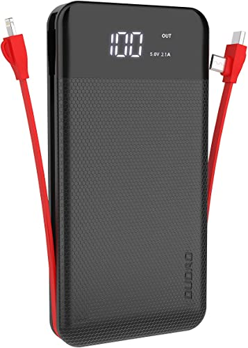 Dudao 10000 Mah Li Polymer Powerbank With 3 Amp 5V Fast Charging With Built In Charging Cable For Iphone Android And Type C Cables Black