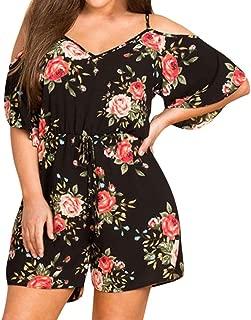 Alixyz Jumpsuit, Women V Neck Cold Shoulder Print Playsuit Fashion Casual Rompers Plus Size