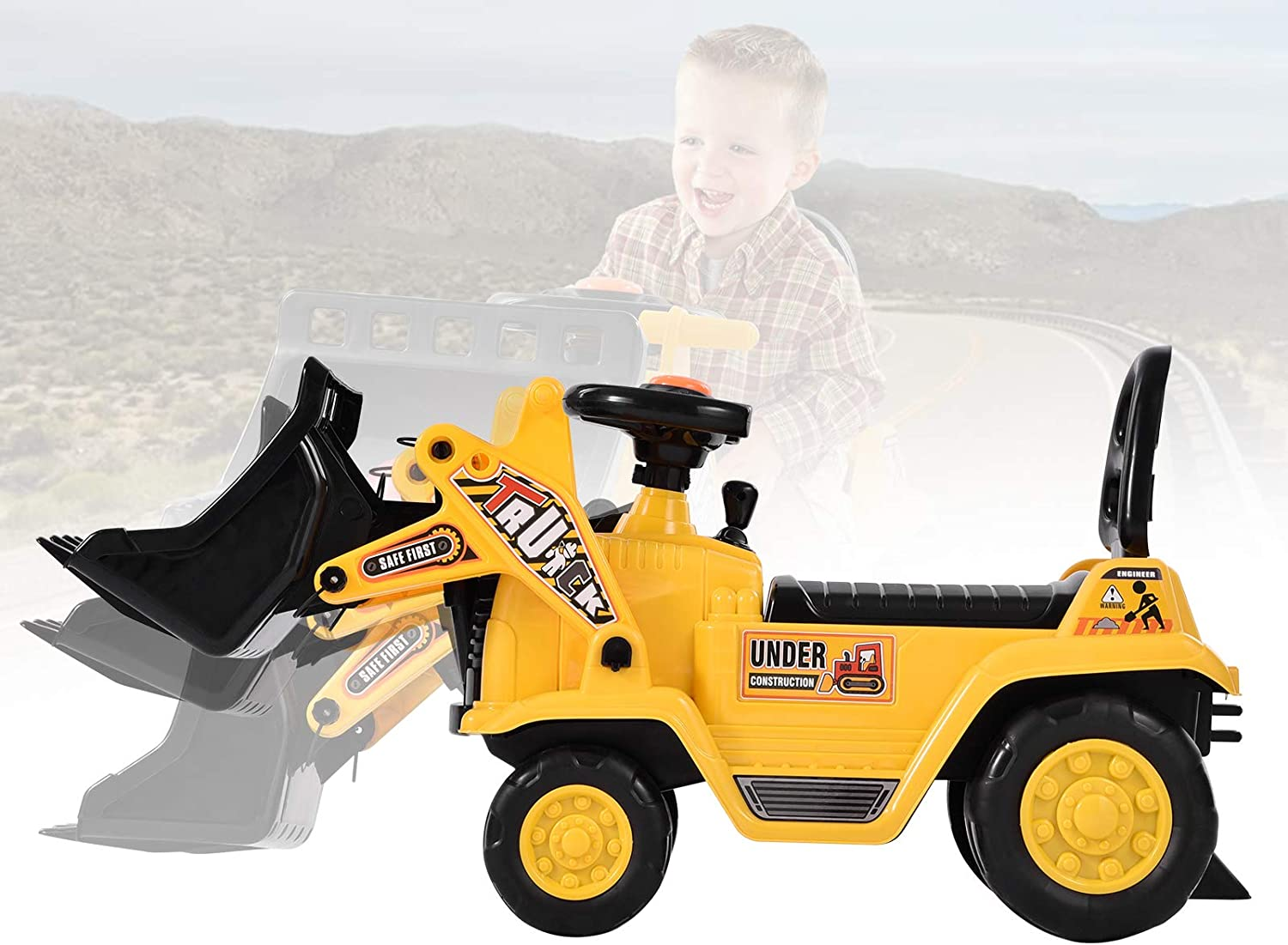 Houssem Outlet ☆ Free Shipping Ride-On Sale price Bulldozer with Bucket Steering for Wheel To Horn