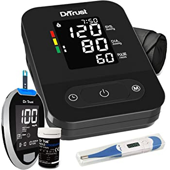 Dr Trust (USA) Fully Digital Smart Dual Language Talking Blood Pressure BP Machine + Glucose Blood Sugar Check Testing Glucometer Monitor with 10 Strips + Flexible Thermometer for Baby, Kids & Adults