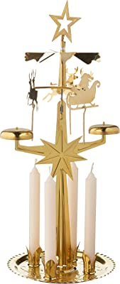 "Alexander Taron Importer 9012B Swedish Design Brass Christmas Chime with Candles-11.5"" H x 5.5"" W x 5"" D, Orange"