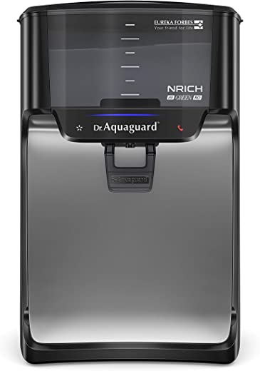 Dr. Aquaguard Nrich Green RO Water Purifier with Copper Maxx, Black