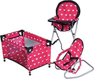 New York Doll Collection Dolls Mega Play set with Dolls High Chair, 3-1 Doll Bouncer and Pack N Play Red-color for 18-inch Dolls