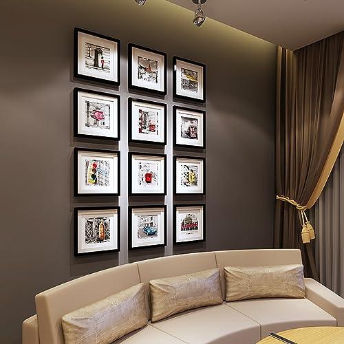 SESO UK- Ensemble de cadre multi-images, cadre de mur d'entrée d'escalier, Ensemble de cadre mural avec 12 cadres de haute qualité, Ensemble de cadre grand cadre photo, housses 115cm X 156cm, Meilleures décorations murales ( Couleur   noir frame )
