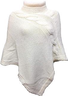 FANTASIE TERRENE Poncho Donna, collo alto, fatto a maglia in filato misto Alpaca di Alta qualità. Made in Italy