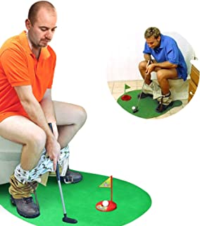 Novelty Place Toilet Golf Potty Putter Game Set - Practice Mini Golf in Any Restroom/Bathroom - Great Toilet Time Funny Ga...