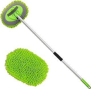 "anngrowy 62 ""Microfiber Car Wash Brush Mop Kit Mitt Sponge with Handle Long Cleaning Car لوازم تمیز کردن ماشین لباسشویی ماشین لباسشویی لوازم جانبی لوازم جانبی ، 1 قطعه آلیاژ آلومینیوم سر بدون جای خراش"