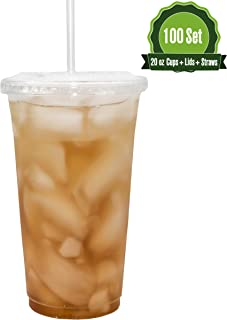 Safeware [20oz-100 Set] Disposable Clear Plastic to go Cups with Flat Lids and Straws | Ice Coffee | Bubble Tea | Smoothie | Cold Beverage | Milkshake | Travel.