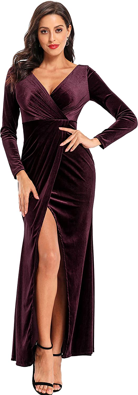 Excellent Ababalaya Cocktail Dress Genuine Free Shipping Long Sleeve Bodycon Wrap Slit Sexy Velv