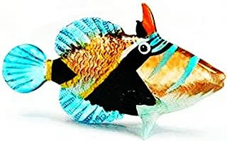 ChangThai Design Aquarium Coastal Style MINIATURE HAND BLOWN Art GLASS Fish Blue Black FIGURINE Collection