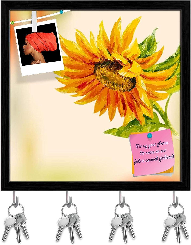 Artzfolio Sunflower D7 Key Holder Hooks   Notice Pin Board   Black Frame 20 X 20Inch