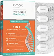Omax Synbiotic Probiotic Prebiotic Inulin Chicory Root Fiber | 50 Billion CFU +10 Strains | Vegan, Therapeutic Grade, Dair...