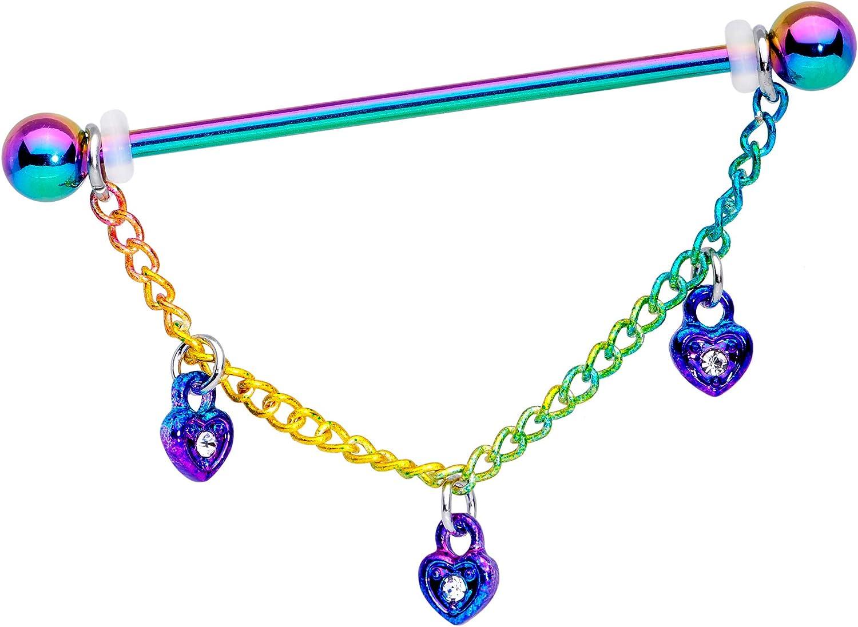 Body Candy Women 14G Rainbow Steel Helix Cartilage Earring Heart Lock Chain Dangle Industrial Barbell 1 1/2