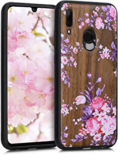 kwmobile Wooden Case for Huawei P Smart (2019) - Hard Case with TPU Bumper - Wood Flowers, Walnut