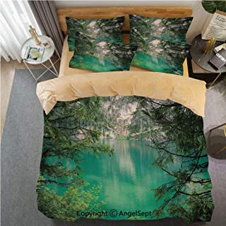 SfeatrutMAT Crystal Velvet Duvet Cover Set,Landscape,Mountain Lake Lago di Braies in Italy Mountain View with Fresh Pine Trees,3 Pieces Zippered Comforter Cover Set Twin,Khaki