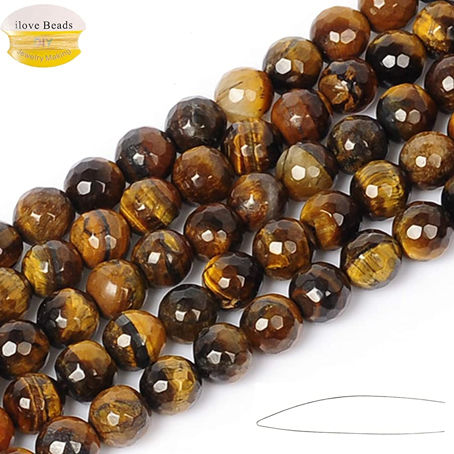 ILVBD Natural Faceted Tiger Eye Stone Beads 4/6/8/10/12MM Loose Beads for Jewelry Making One Strand 15