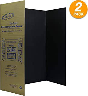 "Black Trifold Presentation Board 36"" x 48 Display Exhibition Board Lightweight and Portable with Smooth Surface Great for presentations (Pack of 2) - by Emraw"