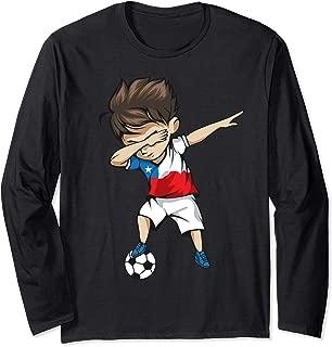 Dabbing Soccer Boy Chile Jersey - Chilean Football Long Sleeve T-Shirt