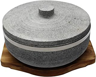 Natural Stone Dolsot Bibimbap Bowls, (One Wood base + A stone lid + A pair of Cooking Gloves), Cooking Korean Soup and Food.