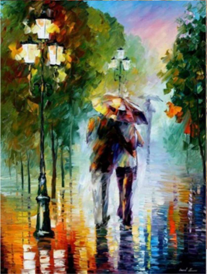 Wowdecor Paint by Numbers Kits for Adults Kids, Number Painting - Romantic in the Rain, Lovers 16x20 inch (framed)