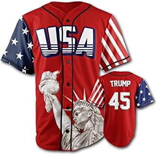 Greater Half Custom Baseball Jersey Button Down USA Red Trump #45 (Small-4XL)
