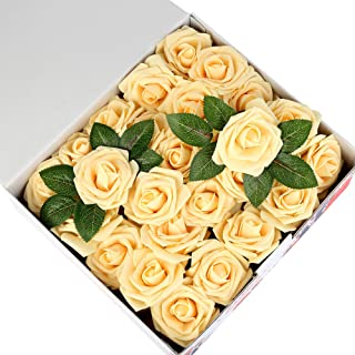 Febou Artificial Flowers, 50 pcs Real Touch Artificial Foam Roses Decoration DIY for Wedding Bridesmaid Bridal Bouquets Centerpieces, Party Decoration, Home Office Decor (Standard Type, Light Yellow)