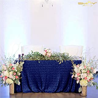 ShinyBeauty 60inx102in Sequin Tablecloth for Wedding/Party-Navy Blue