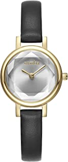 RumbaTime Women's 'Venice' Quartz Stainless Steel and Leather Casual Watch, Color:Black (Model: 27488)