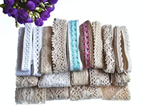 RayLineDo 20 Meters Assorted Vintage Style Cotton Lace Ribbon Trim Bridal Wedding Scalloped Edge Crochet Lace DIY Sewing Accessory Collection C