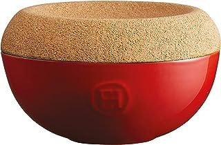 Emile Henry Made in France Burgundy 5.8 inch diameter Salt Cellar with cork cover