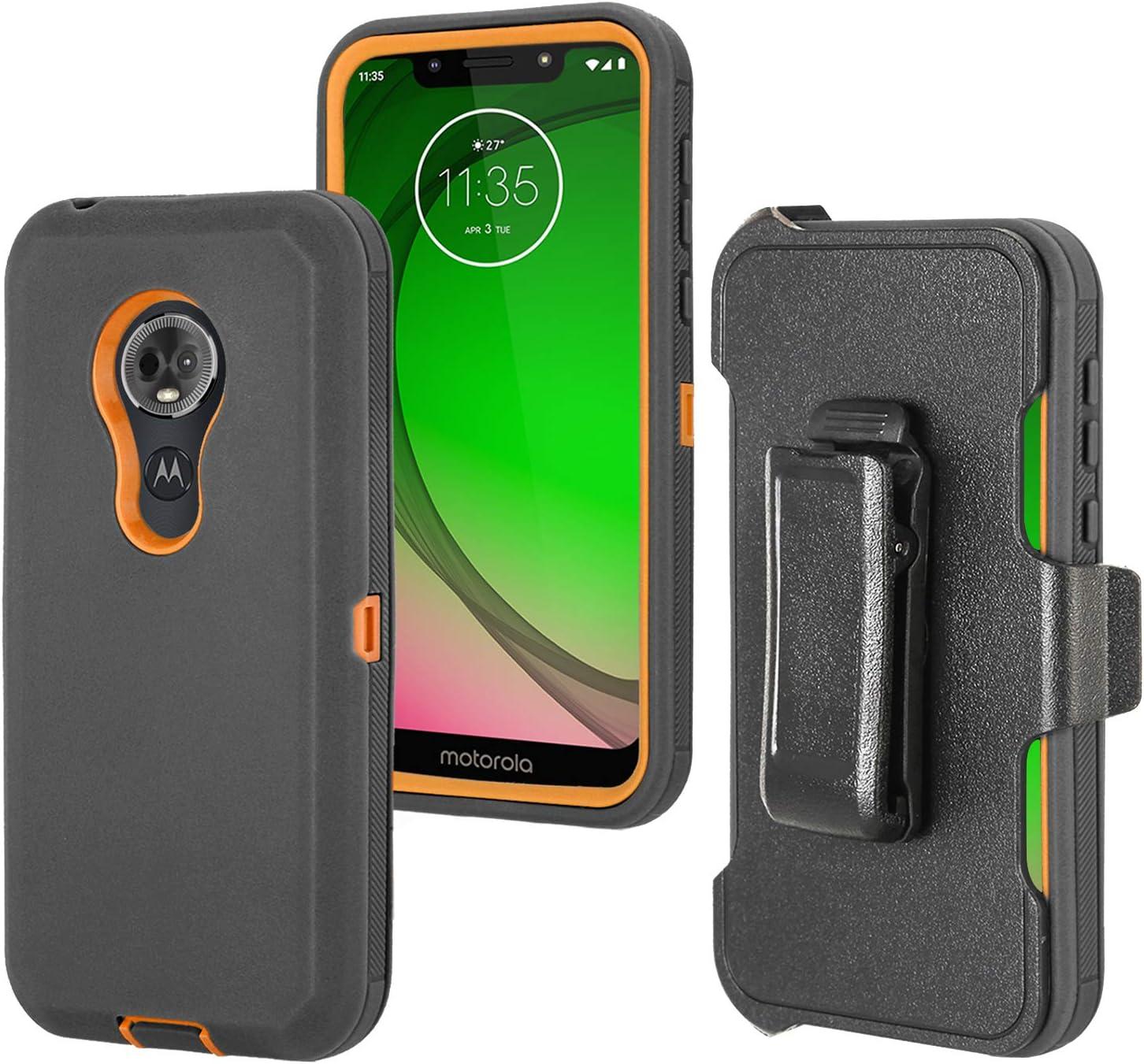Stroson for Moto E5 Plus Case, Moto E5 Supra Case, with Belt Clip/Kickstand Phone Case 4 in 1 Tough Heavy Duty Shockproof Bumper Holster for Motorola Moto E5 Plus / E5 Supra (Black+Orange)