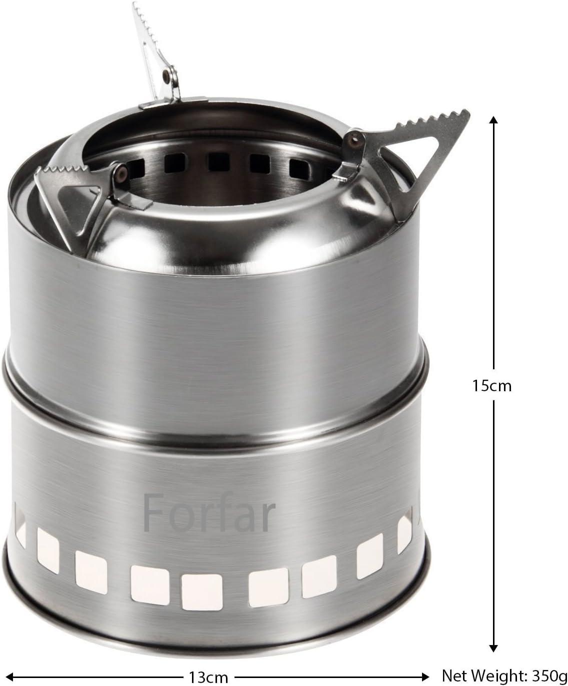 forfar – Hornillo de gas, portátil ligero plegable de acero inoxidable madera estufa de alcohol para cocinar al aire libre barbacoa camping mochila