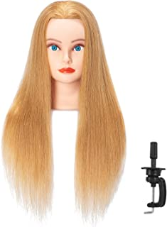 Hairlink 24-26'' Mannequin Head With Human Hair Styling Training Head Dolls for Cosmetology Manikin Maniquins Practice Head with Stand (6611W2718H)