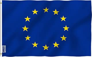 Anley Fly Breeze 3x5 Foot European Union Flag - Vivid Color and UV Fade Resistant - Canvas Header and Double Stitched - EU Flags Polyester with Brass Grommets 3 X 5 Ft