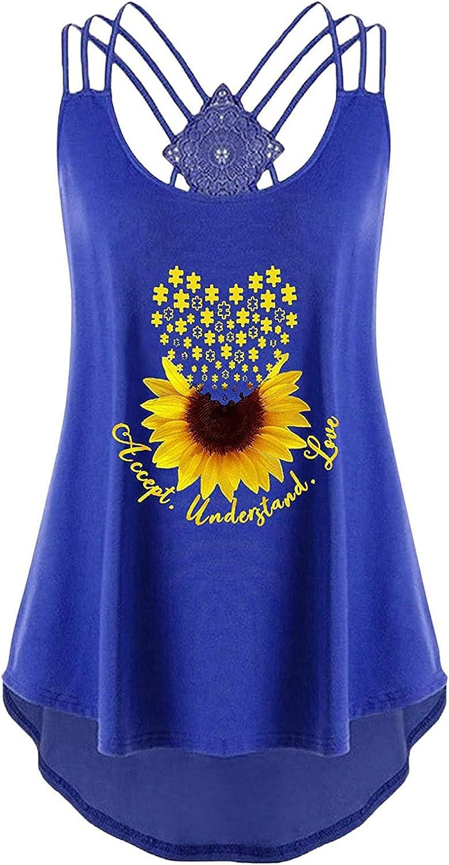 2021 Fashion Vest for Women Summer Boho Sunflower Printed Sleeveless Bandages T-shirt Tank Tops