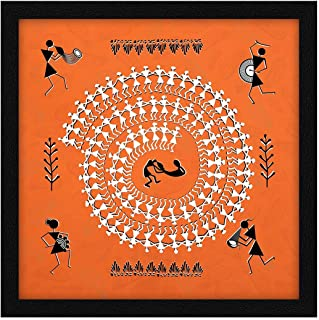 ArtX Paper Warli Indian Village Mandala Art Framed Wall Painting, Multicolor, Abstract, 13 X 13 inches, Set of 1