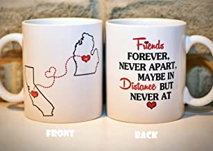 Long Distance Coffee Mug States Mug BFF Coffee Mug Best Friends Mug Mother's Day Gift for Mom Personalized with Custom Quote All States, Countries - 11oz or 15oz - ONE MUG