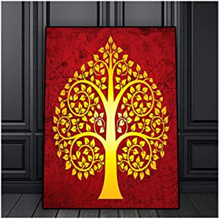 DNJKSA Vintage Style Thailand Bodhi Tree Oil Painting on Canvas Posters and Prints Scandinavian Art Wall Picture for Living Room Decor/50x70cm-No Frame