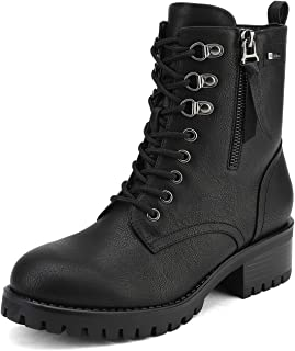 Women's Military Lace Up Combat Boots Chelsea Ankle Booties