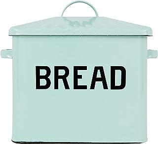 Creative Co-Op EC0124 Enameled Metal Distressed Bread Box with Lid, Blue