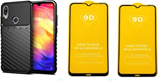 Xiaomi Redmi Note 7 Rugged Armor Flexible Shockproof TPU Case Cover - Black + 2 Free Screen Protector