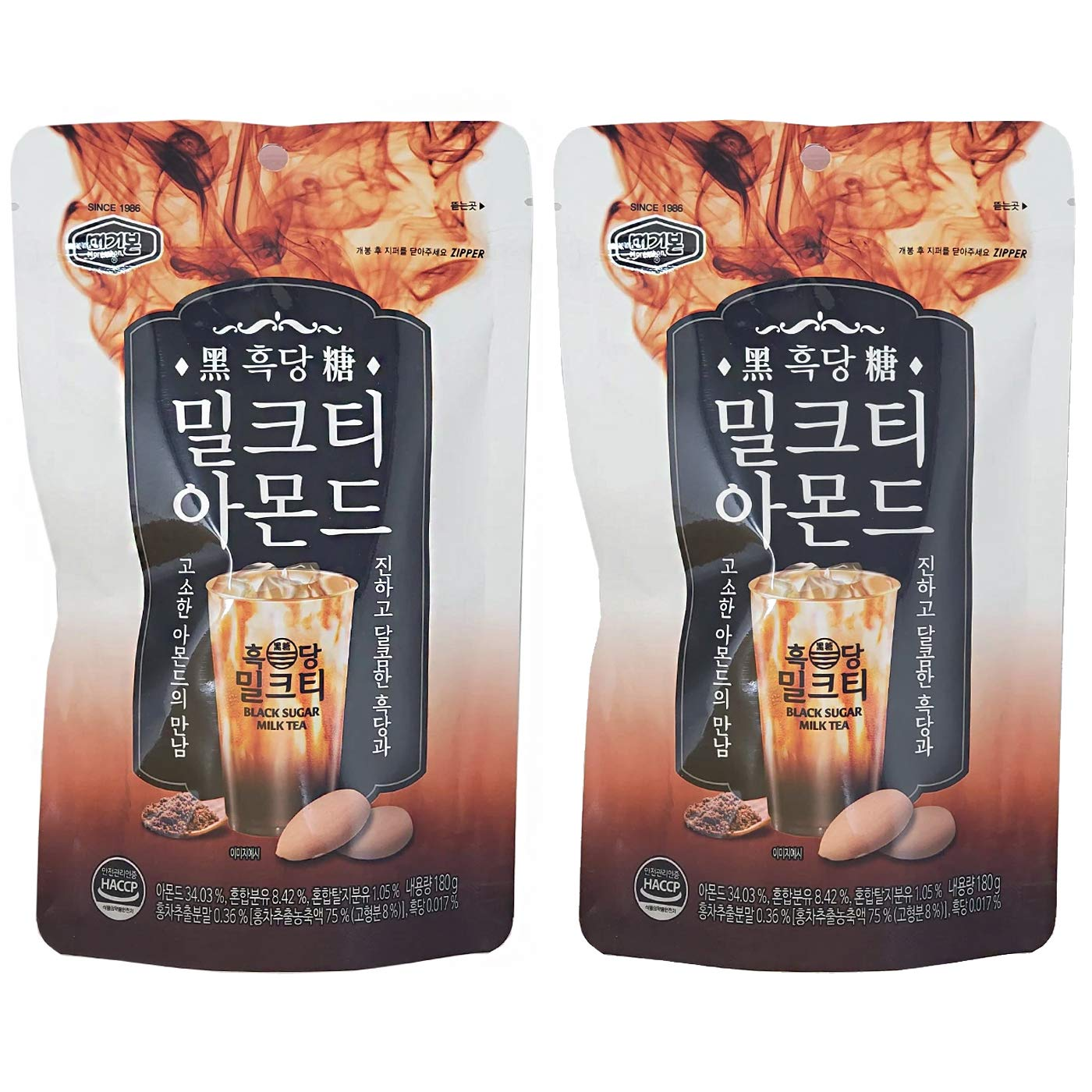 Murgerbon Black Sugar Courier shipping free shipping Milk Tea Credence Roasted Flavor Pack 180g Almonds