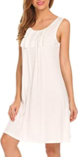 bc49028d05 Hotouch Nightgowns Womens Cotton Night Shirts Sleeveless Sleep Dress S-XXL