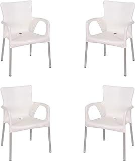 KG KitGarden - Pack de 4 Sillas Apilables Resina y Aluminio, Blanco, Vera