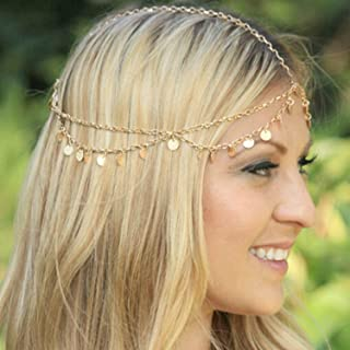 Yean Gold Headband Jewelry Sequins Head Chain Headpiece for Women and Girls (Yellow)
