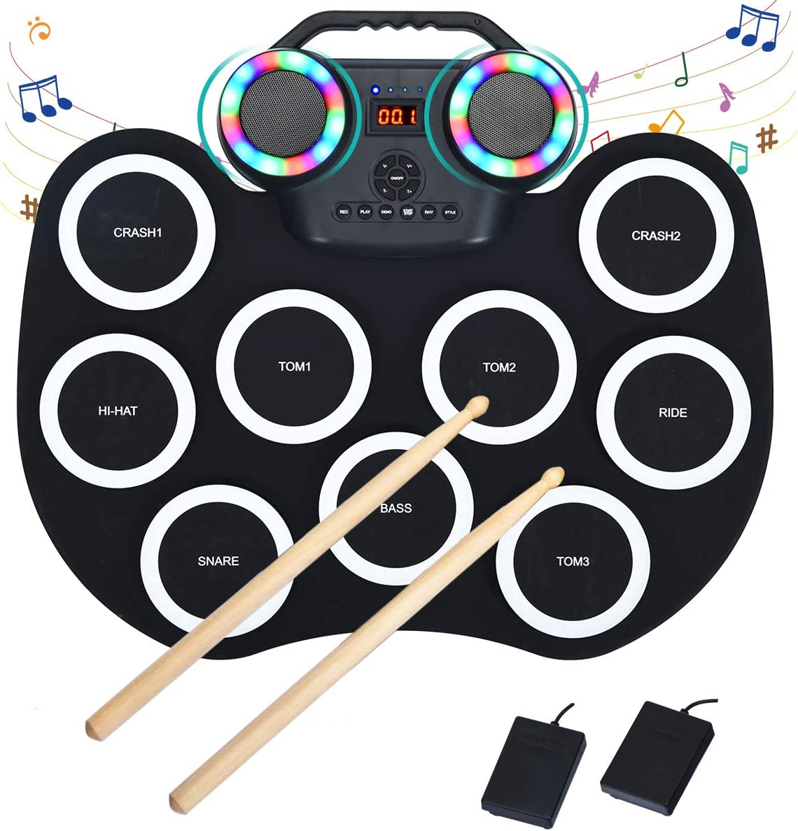 Costzon 9 Pads Electronic Drum Set LED Roll 倉 with 毎日続々入荷 Portable Light